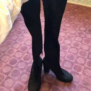 Zara Black Faux Suede over the knee boots size 6